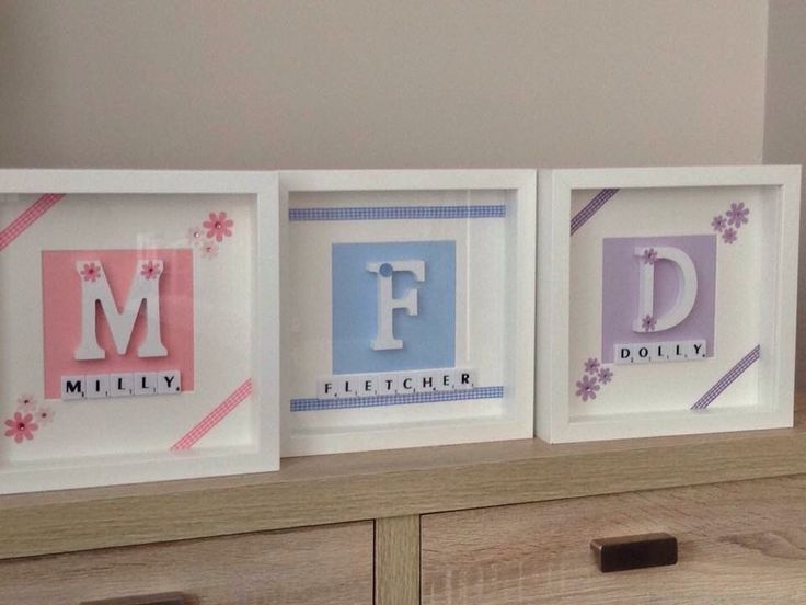 Personalised Scrabble Frame New Baby Girl Boy Initial Christening Keepsake Gift