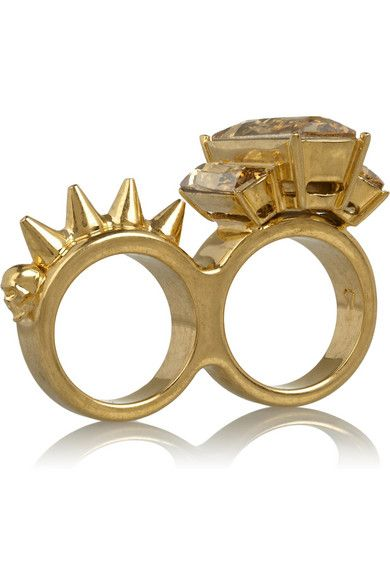 Alexander Mcqueen ring looks like edgy brass knuckles.: Mcqueen Gold Tone, Alexander Mcqueen, Fingers, Crystal Two Finger, Crystal Ring, Rings, Swarovski Crystals