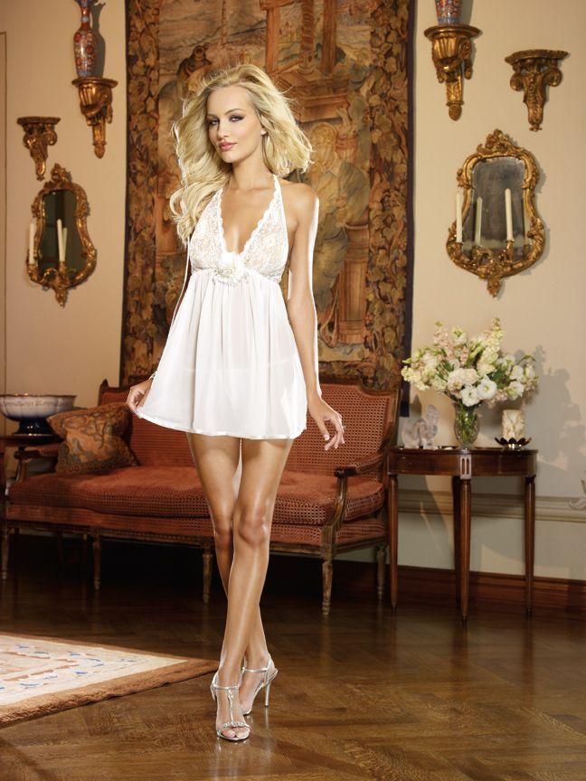 Tiffany Jades Lingerie - Dreamgirl Pearl Flowy Bridal Babydoll, £33.99 (http://www.tiffanyjadeslingerie.com/dreamgirl-pearl-flowy-bridal-babydoll/)