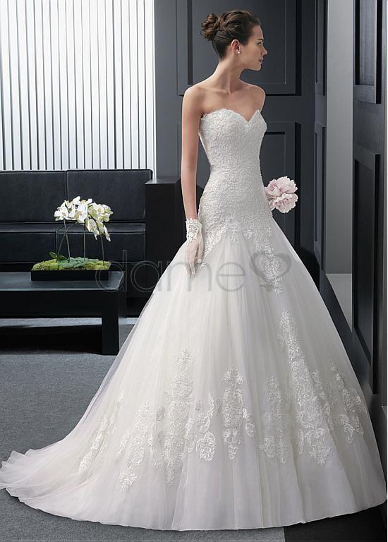 Tüll Satin Schatz Ausschnitt Prinzessin Spitze bodenlanges aufgeblähtes Brautkleider