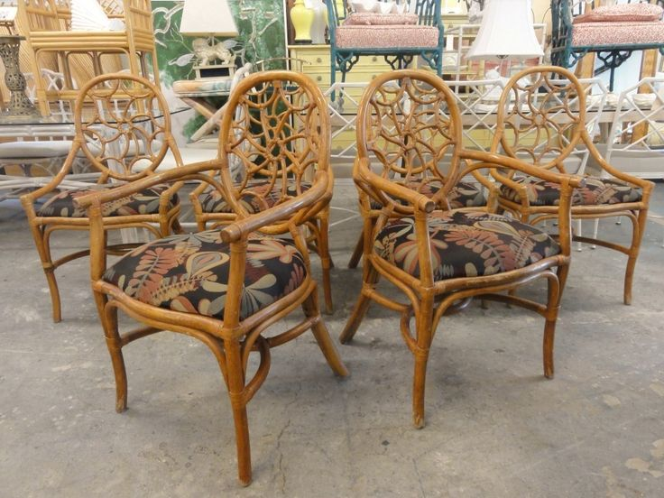 Set Of 6 Rattan Spider Back Chairs Palm Beach Regency