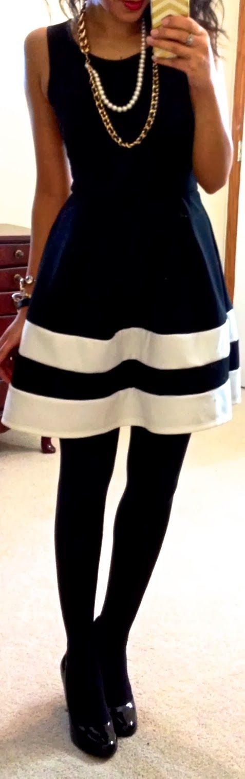 black white stripe skirt black tank black tights