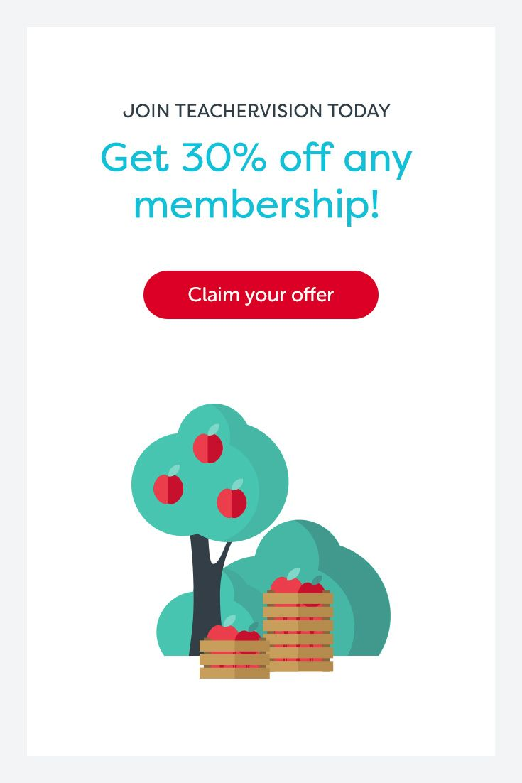 Who doesn't love a good back-to-school deal? Get 30% off any new TeacherVision membership when you click the link! (Or use code BTS30 at checkout.) Don't miss out on your chance to save on thousands of quality teaching resources!