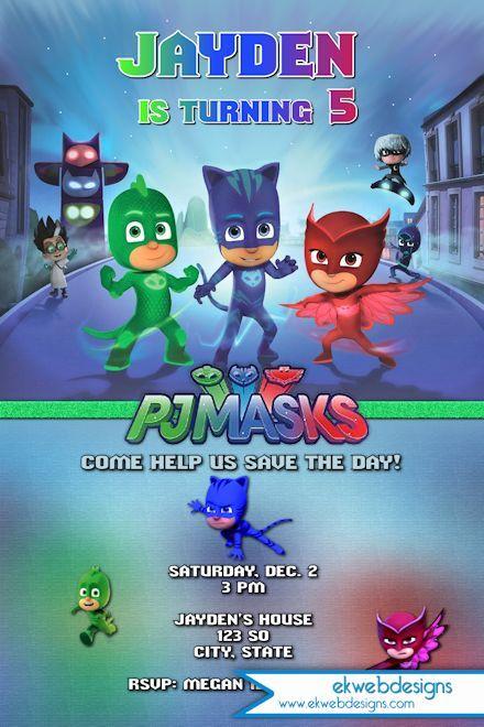 PJ Masks Birthday Invitation   Disneys Pj Masks Custom Invitation
