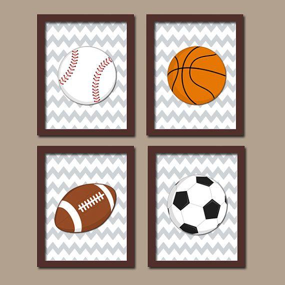 DEPORTES arte de pared, lienzo o impresiones chico vivero Kid niño pelotas fútbol fútbol béisbol baloncesto Chevron patrón conjunto de bebé 4 dormitorios