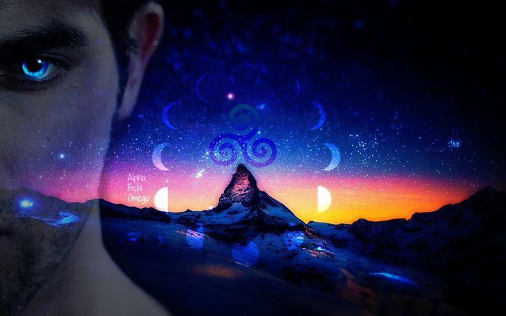 Teen wolf. Lunar cycle. Wallpaper. Derek Hale. Tattoo. Werewolf. Blue eyes. ♥ Alpha Beta Omega