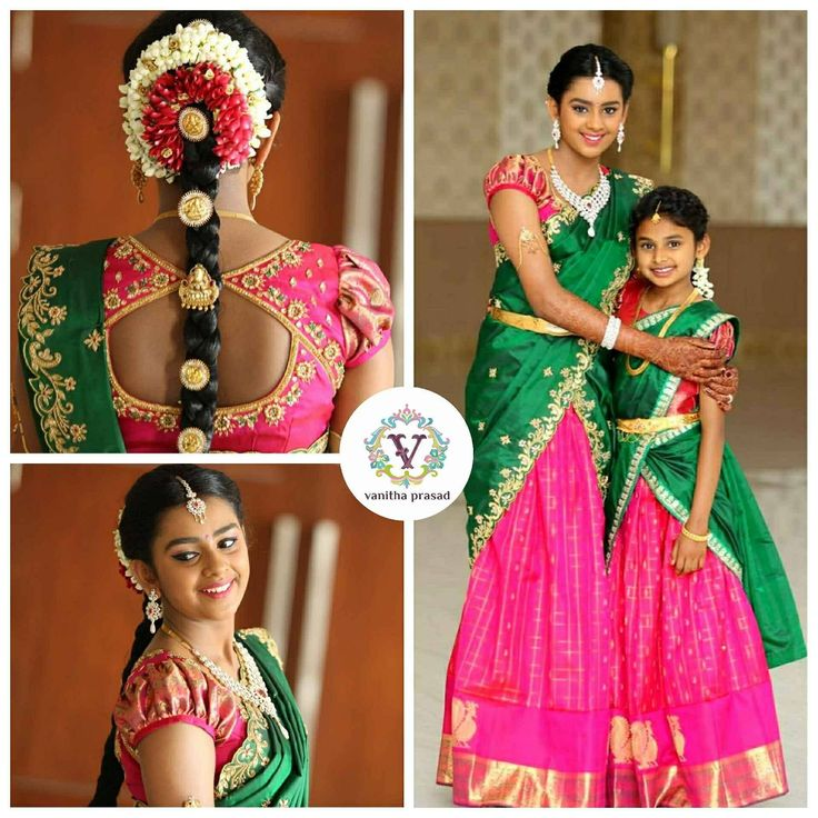 Green and pink is lovely combination for traditional langa voni. Beautiful pink color benaras lehenga and blouse with green color voni is designed with hand embroidery thread work.  05 August 2017