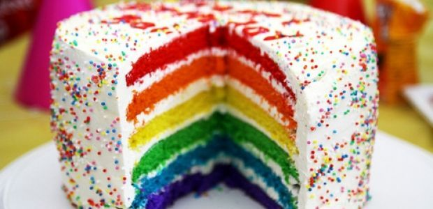 tort, tort urodzinowy, tort tęcza, ciasto tęcza