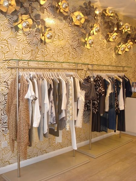 This boutique showcases to perfection Florence's 'Japanese Fans' print. One of Florence's many incarnations throughout her full and creative life was as a fashion designer in London and Paris. She would most likely have decorated her own salon in ways such as this. In Australia, her archival prints have been used by fashion designers including Akira Isogawa and the Zimmermann sisters.