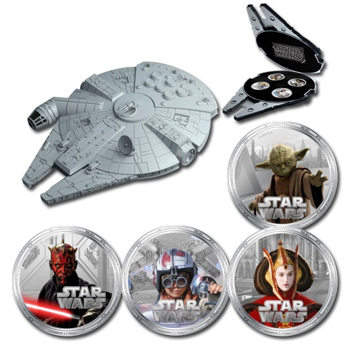 Niue 2012 $2 Star Wars Series II Millennium Falcon 1oz Silver Proof Set - Downies.com #starwars