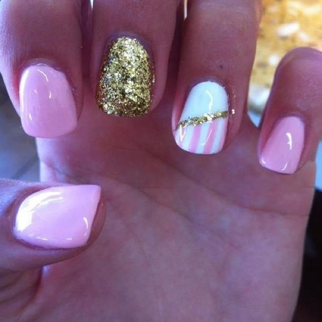 Pink Nails, Glitter Gold Nail, And Half White Half Striped