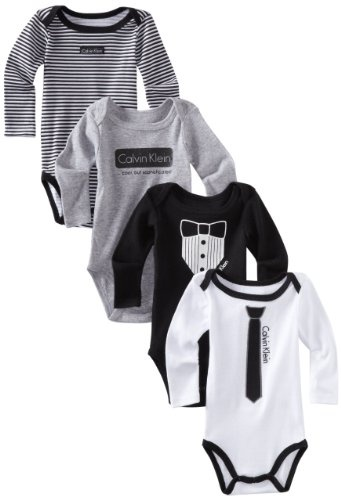 Calvin Klein Baby-Boys 4 Pack Long Sleeve Bodysuit,Black/Gray,0-3 Months: Amazon.com: Clothing