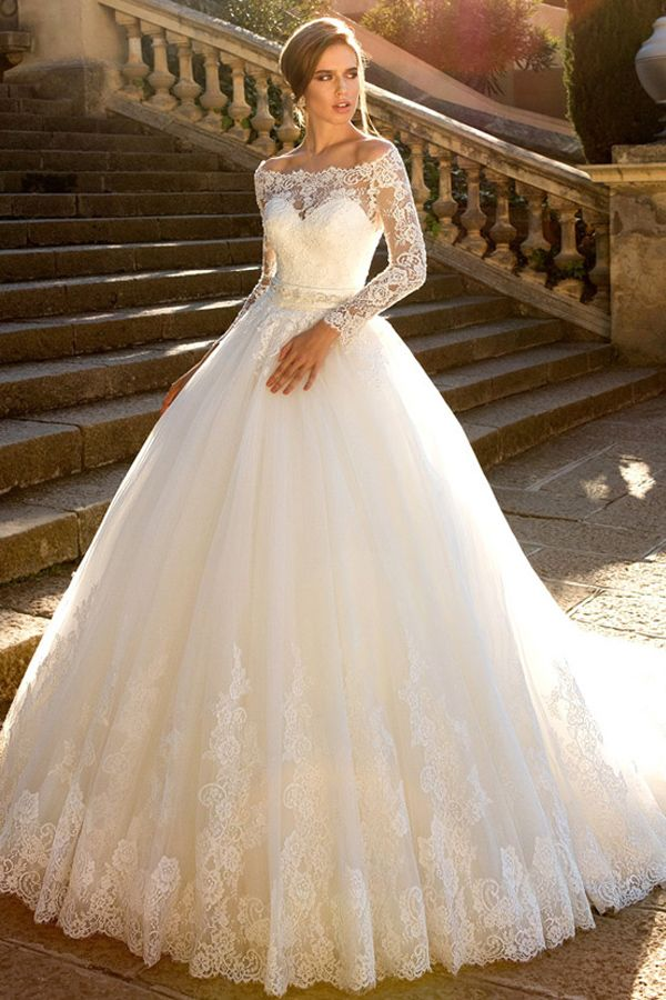 NEW! Fantastic Tulle Off-the-shoulder Neckline Ball Gown Wedding Dress With Lace…