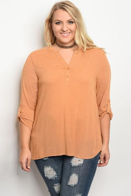 7d1505eb7bba59 Women Plus Size 3 4 Sleeve V Neckline Solid Top Blouse