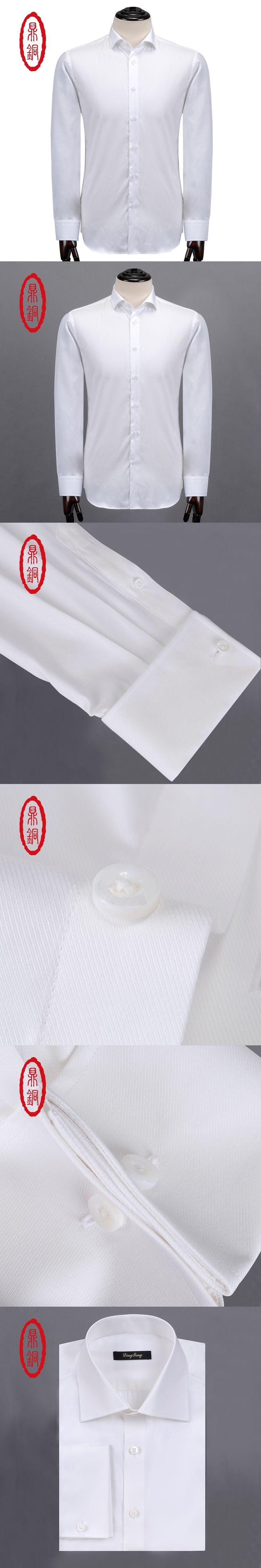 DINGTONG Men's White Casual Cutaway Collar Silk Cotton Custom Dress Shirts 2 Photos Customize Your Shirt ( F0145-1 )