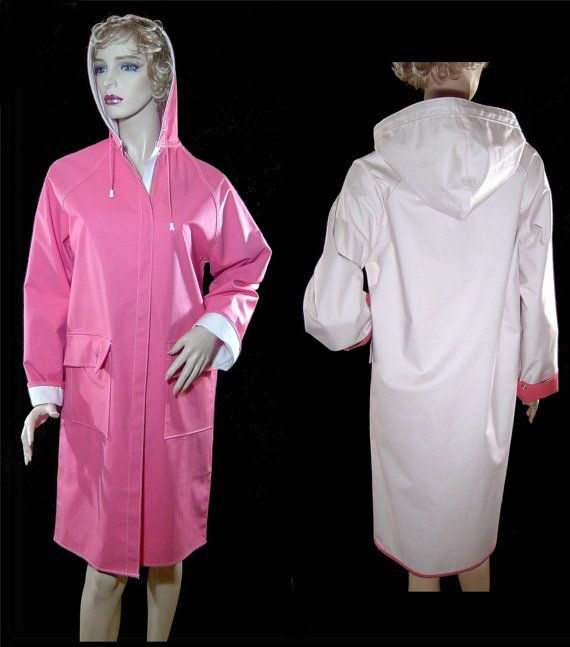 Vintage 1960s pink white raincoat  Medium  reversible by fatspazzy, $125.00