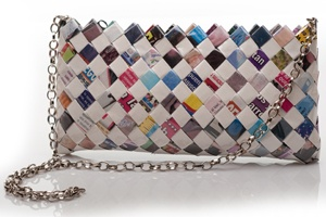 I love this tiny chain accented purse made from nearly 270 wrappers!