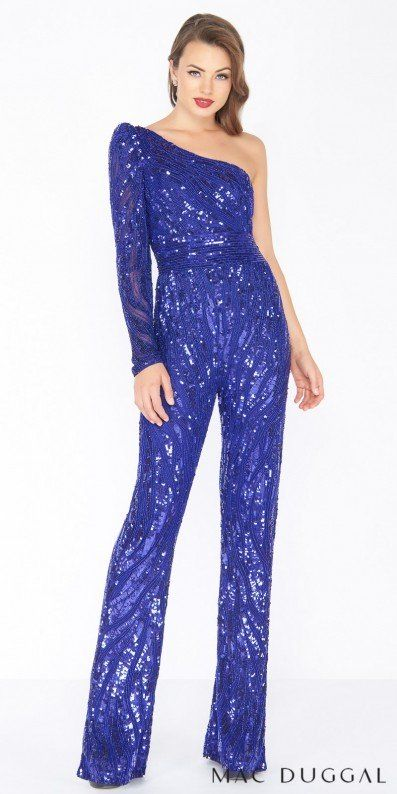 Dare to be bold and stand out from the crowd when you arrive in this One Shoulder Sequin Fitted Jumpsuit by Mac Duggal to your next soiree. This style includes a sexy one shoulder neckline with a long sleeve, a fully sequin embellished fitted body, and a slim skinny leg pant. #edressme
