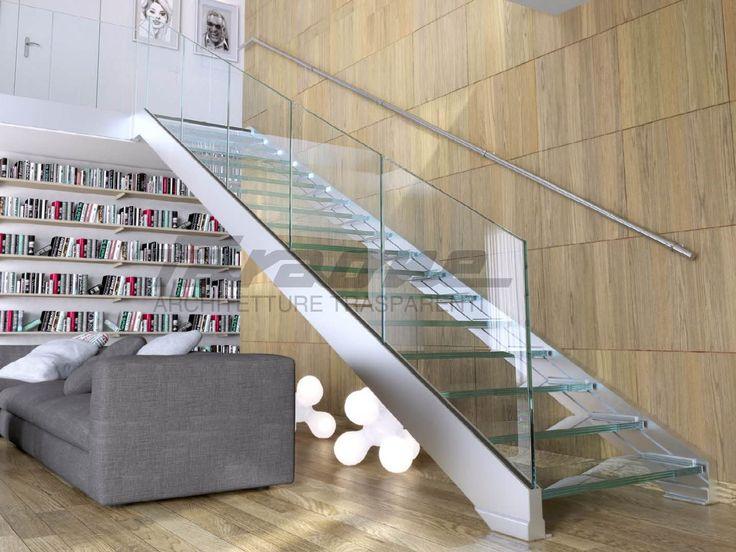 Escalera abierta en acero y vidrio NINFA S Colección Escaleras by FARAONE | diseño Nino Faraone, Matteo Paolini, Roberto Volpe