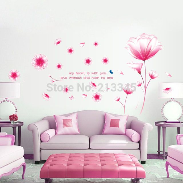 [Суббота Монополия] новые полки розовый/фиолетовый цветы главная декор стены стикеры гостиная переводные картинки фрески искусства съемный стикер
