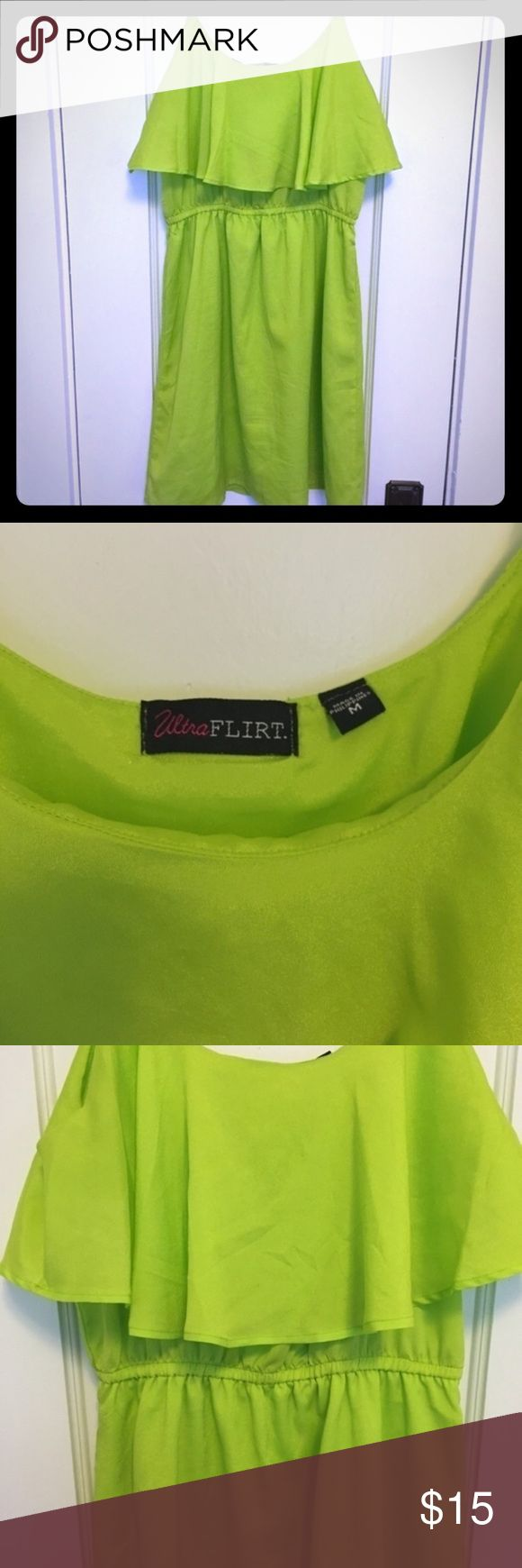 Neon green dress Super cute neon green dress. Worn once to the beach and once on a date. Great condition. Light fabric. Perfect for a sunny day! Ultra Flirt Dresses Midi