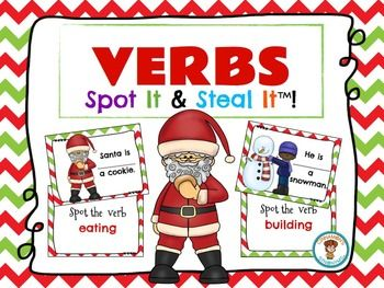 """Download this freebie. This is an engaging way to teach VERBS! I invented this game as a way to spruce up the ol' """"I Have, Who Has"""" game. I always found that my students lost interest quickly as soon as their card was read ...so I was inspired to create my Spot It and Steal It games."""