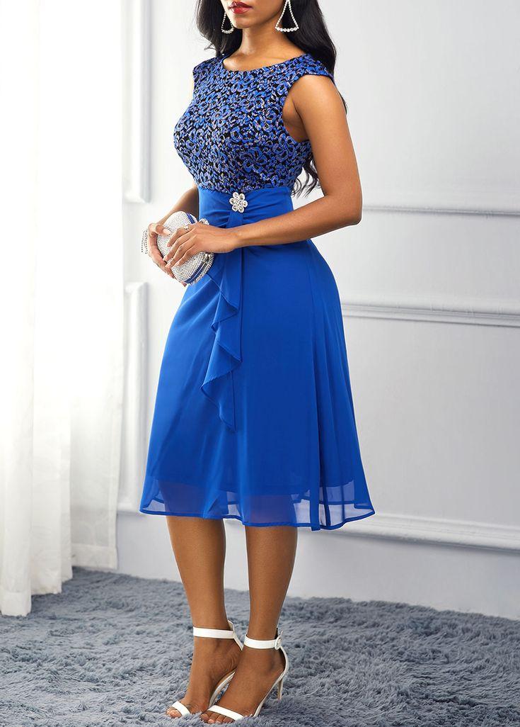 Royal Blue Rhinestone Embellished High Waist Dress | Blue ...