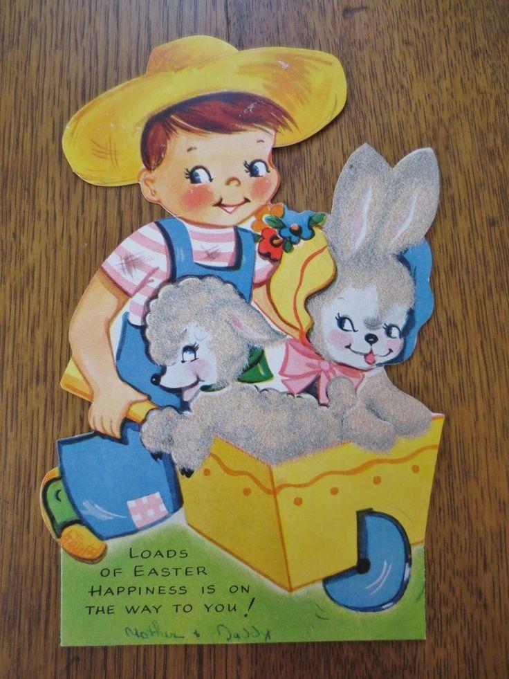 Vintage A-MERI-CARD Mid-Century EASTER Card-FUZZY LAMB & BUNNY In Wheelbarrow