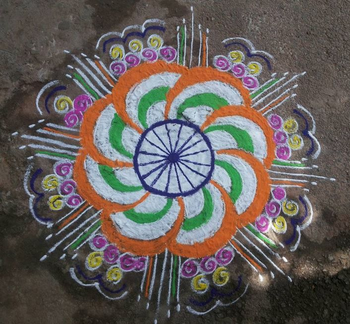Best Ultimate Patriotic Independence Day Kolam Designs photos for free download