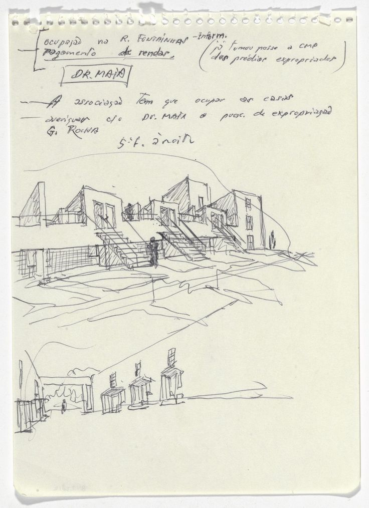 Álvaro Siza. SAAL S. Victor Social Housing, Porto, Portugal (Perspective sketches). 1974-1977