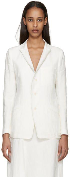 Y's Ys Off-White Linen Blazer