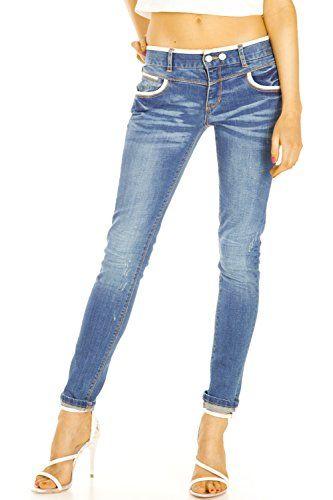 awesome Bestyledberlin Damen Jeans, Stonewashed Slim Fit Stretch Hosen, Used Look Jeanshosen j30i 44/XXL