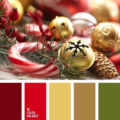 amarillo, burdeos, escarlata, marrón, paleta de colores navideños, paleta de la Navidad, selección de colores para el Año Nuevo, selección de la combinación de colores para el Año Nuevo, tonos rojos, verde.