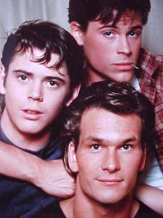 C. Thomas Howell, Rob Lowe, and Patrick Swayze - the Curtis brothers.