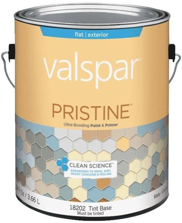 Valspar 18202 Pristine Ultra-Bonding Paint & Primer, Gallon, Flat, Tint Base
