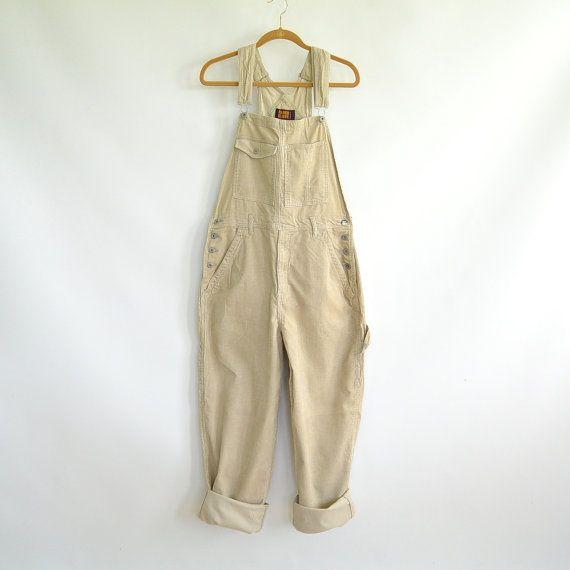 Vintage Men's Bib Overalls Tan Corduroy Dungarees Unisex Overalls