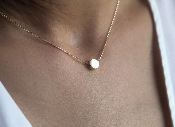 Solid gold round bead necklace. So simple and dainty, perfect everyday wear. Great for layering with your other necklaces. If you would like to have initial on this coin please add a letter in the notes at the checkout. Necklace features:  ★ 14k solid gold shinny chain ★ 14k solid gold bead measures 7mm  Necklace will be shipped with DHL express shipping. Processing time is 10 - 12 days. Thanks! ♥, Maya  ★ ★ ★ ★ ★ ★ ★ ★ ★ Enter my shop here: http://www.etsy.com/shop/Minim...