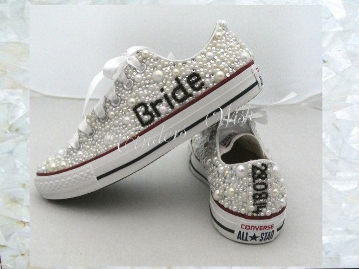 Wedding converse / luxury footwear/ bridesmaid converse / premium range /pearl converse / vintage / delicate / romantic / name converse by CindersWish on Etsy
