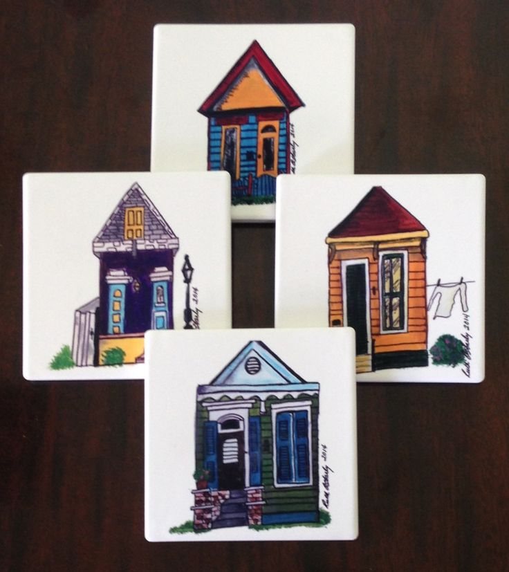 Sandstone Coasters - Drink Coasters - Natural Stone Coaster Set - Handmade Coasters - New Orleans Coasters - Home Decor Gift - Wedding Gift by SerenityoftheSouth on Etsy #neworleans #shotgun #houses #sandstone #coasters #gift #idea