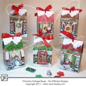 Christmas Cottage Boxes - best selling design sold out at QVC - Make your own treet boxes this Christmas using heavy glossy or semi gloss brochure papers. Fill up with little goodies for teachers, neighbors, co-workers, friends, and family! _ Designed by - Gina Jane for DAISIE COMPANY: Clipart, Printables, Graphics, DIY Crafts for Kids, Parties, Candy Wrappers, by artist Gina Jane for DAISIECOMPANY