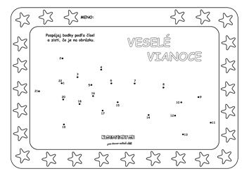 Spájame bodky. Vianočná hviezda. - Aktivity pre deti, pracovné listy, online testy a iné