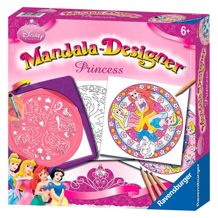 Zelf spiraaltekeningen maken met jouw favoriete Disney prinsessen erop! Met deze sjabloon kun je de mooiste mandala's ontwerpen. Gewoon een vel papier tussen het frame en de sjabloon leggen en je kunt beginnen. Voor ieder keer dat je een patroon wilt herhalen, draai je de sjabloon een pijl verder. Tenslotte nog inkleuren en klaar is je zelfontworpen spiraaltekening. Geschikt voor kinderen vanaf 6 jaar. Afmeting: koffertje 27 x 27 x 6 cm.  - Mandala-Designer - Disney Prinses