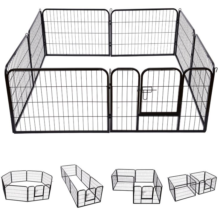 Pawhut Heavy Duty Dog Pet Puppy Metal Play Pen Rabbit Pig Hutch Run Enclosure Foldable Black 80 x 60 cm (Small)