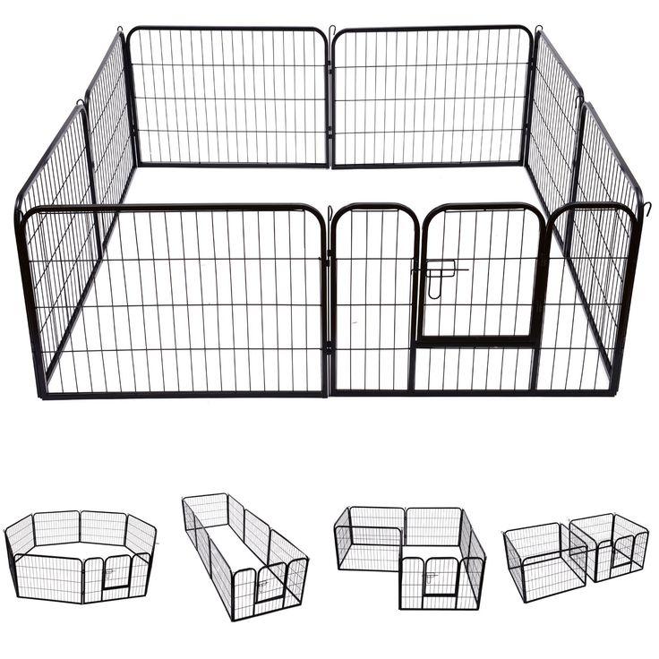Pawhut Heavy Duty Dog Pet Puppy Metal Play Pen Rabbit Pig Hutch Run Enclosure Foldable Black 80 x 60 cm (Small)
