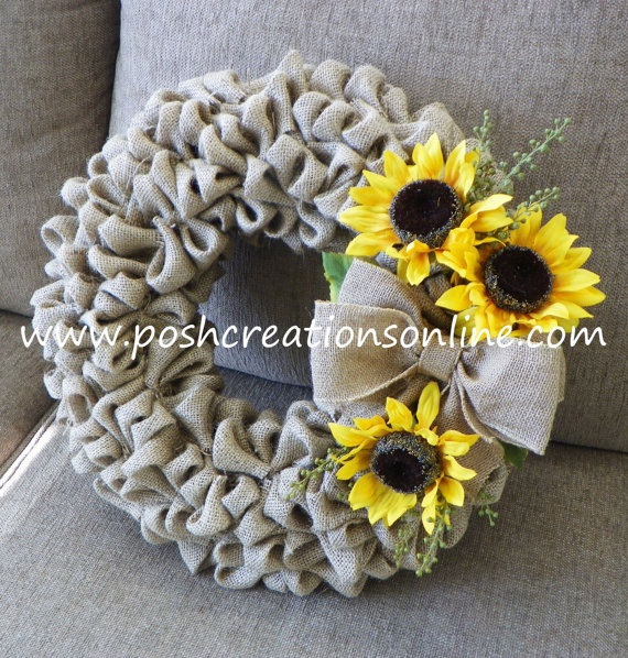 Tan Burlap Wreath with Sunflower Accents by poshcreationsKY, $65.00