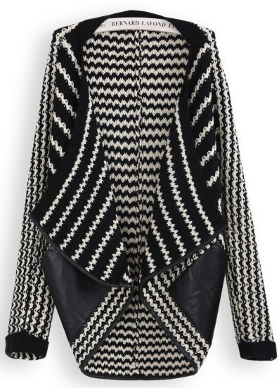 { Blak White Striped Contrast Pu Leather Cardigan }