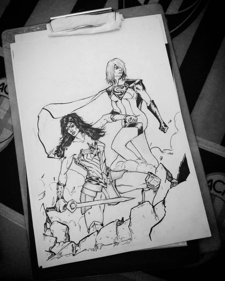 unfinished.  #wonderwoman #supergirl #ink #sketch #pencil #art #illustration #drawing #comic #fanart #comicart #comicillustration #dccomics
