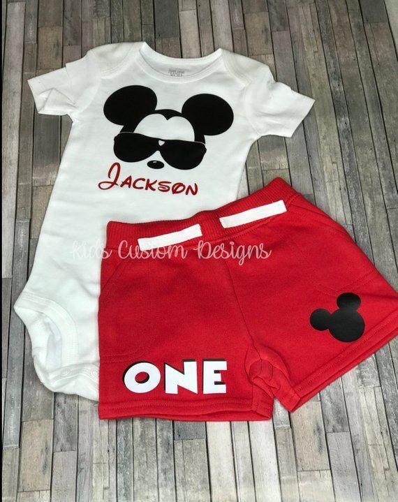 eab78728f Mickey Mouse 1st Birthday Outfit / Mickey Shirt / Mickey Bodysuit Short Set  /Disney Mickey birthday outfit / Boy 1st birthday outfit /