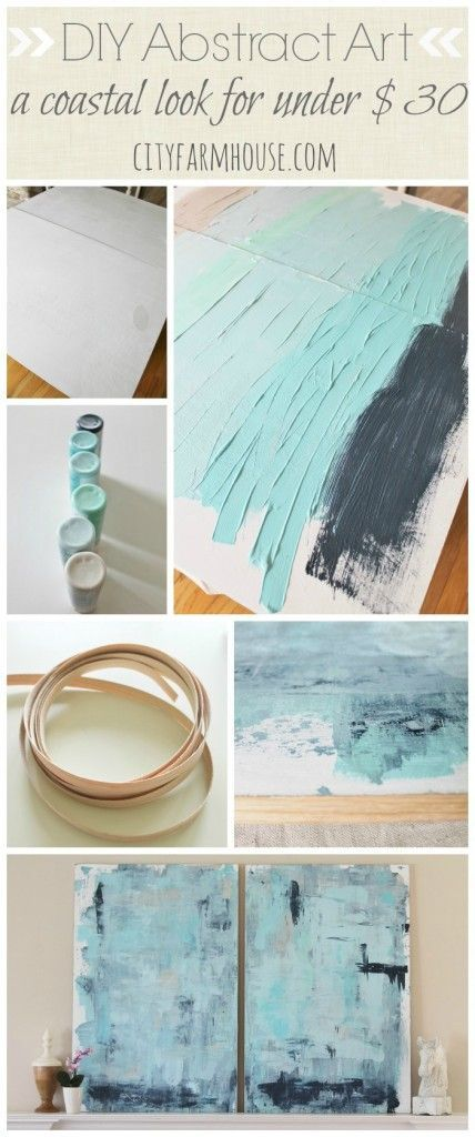 DIY Abstract Art-A Coastal Look For Under $30-City Farmhouse DIY home deocr, DIY cleaning supplies
