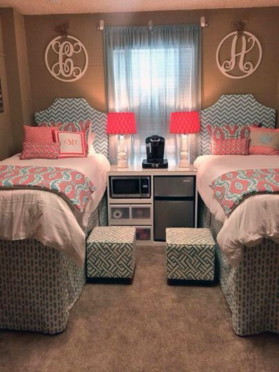 Asa and Lydia's room!!! Coral and Aqua Ikat Sherpa Custom Coordinating Dorm Room Dorm Decor Dorm Bedding